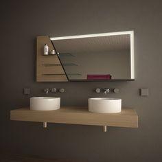 Spiegelmöbel mit Holz-Ablagen Manos 989705124