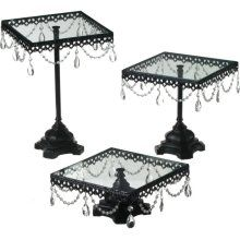 Jeweled square tiered cake stand $89.00. Or you can totally make these for way cheaper. Just get some basic cake stands from a store like walmart and then spray paint them and cover them with jewels from hobby lobby.much better if youre on a budget.