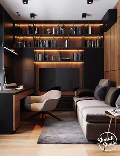 Modern Home Offices, Small Home Offices, Home Studio Setup, Home Office Setup, Office Ideas, Music Studio Decor, Desk Setup, Cabin Office, Office Sofa