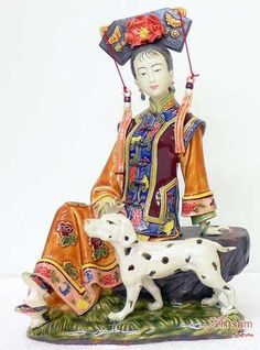 The Concubine - Qing Dynasty Chinese Lady With Dog Ceramic Figur : Art-sam.com