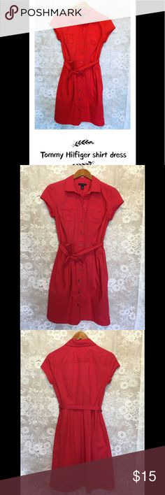 Tommy Hilfiger Shirtdress Sweet cotton short sleeve t-shirt dress with sash at waist. It is a great transitional piece. Excellent condition,size S. The fourth picture was taken under the sunshine. Tommy Hilfiger Dresses