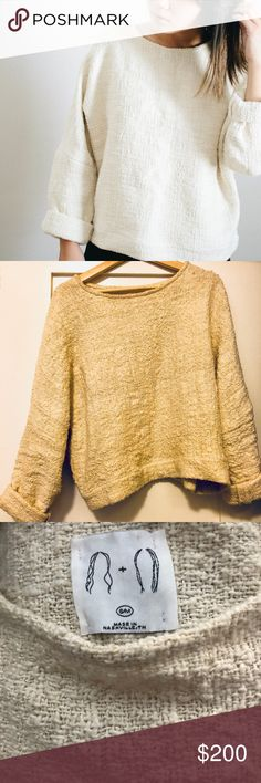 Jamie + the Jones Heavy Weight T Sweater S/M Jamie + the Jones Heavy Weight T Sweater in Natural in Small/Medium. This sweater is gorgeous, and absolutely deserving of its cult status! I am only selling because I realized after a few wears that I want it in a bigger size. In excellent condition- built to last a life time. Jamie and the Jones Sweaters