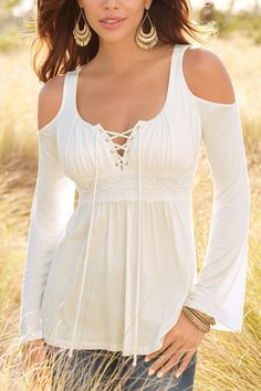 White Cold Shoulder Lace-up Chest Pleated Blouse