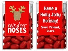 Christmas Rudolph the Red Nose Reindeer Noses Tic Tac Labels. Christmas Tic Tac Labels are fun Christmas party favor ideas for adult parties or for children's parties.