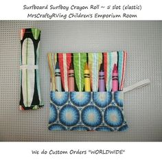 Surfboard Surfer Boy Crayon Roll Party Favor Dr by MrsCraftyRVing, $2.00