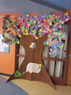 Elementary Earth Day Project- Pledge Tree- students write their pledge to the earth and it adds up to a work of art and a display of commitment.   {I pledge to use both side of each piece of paper}