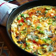Shitaki and Oyster Mushrooms are the stars of the Spanish Omelette