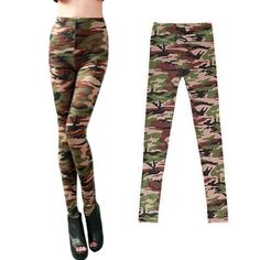 Hot Women Leggings Camouflage Army Printed Stretch Pants Skinny Trousers
