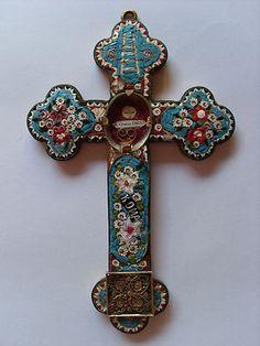 Mosaic Relic Cross 1880 True Cross Relic s Crucis DNJC Reliquary
