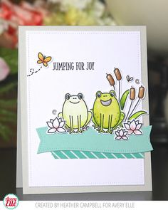 Heather Campbell for Avery Elle Supplies: Ribbit Ribbit Clear Stamps & Dies Pierced Banner Layers Dies Double Pierced Rectangles Dies