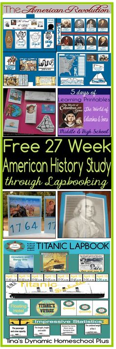 Free 27 Week American History Study through Lapbooking In Chronological Order @ Tina's Dynamic Homeschool Plus