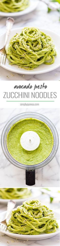 Avocado Pesto Zucchini Noodles -- a light and flavorful dish that requires zero cooking and only a few simple ingredients! by neva Raw Food Recipes, Vegetable Recipes, Pasta Recipes, Vegetarian Recipes, Cooking Recipes, Healthy Recipes, Paleo Pasta, Vegan Cru, Raw Vegan