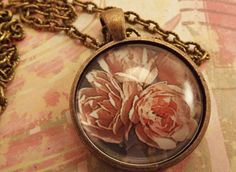 'Pretty Pink Flowers Pendant Necklace' is going up for auction at  2pm Sat, Sep 8 with a starting bid of $5.