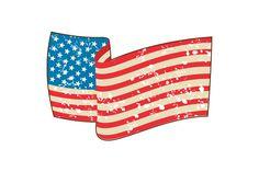 USA Flag Stars and Stripes Grunge  - Illustrations Illustration of a grunge usa american flag stars and stripes wavy set on isolated white background done in retro style. #illustration   #USAFlagStarsandStripes
