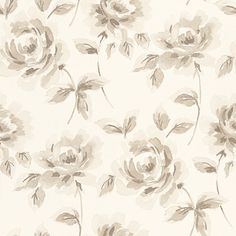 Floral Rose  (128012) - Esta Home Wallpapers -  An elegant floral rose design in a hand painted watercolour effect shown here in cream and beige. Please request a sample for true colour match.