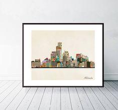 Milwaukee City, Milwaukee Wisconsin, City Skyline Art, Epson Ink, Giclee Print, Pop Art, Fine Art Prints, Thing 1, Gallery