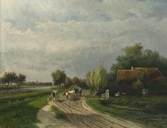 Boer met koeien op een weg. Paul Gabriel 1828-1903.