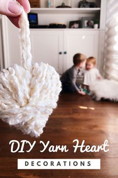 Easy DIY yarn-wrapped heart decorations that you can make with (or without) the kids! Dollar Store Crafts, Crafts To Sell, Crafts For Kids, Diy Projects For Adults, Craft Projects, Craft Ideas, Decor Crafts, Diy Crafts, Big Yarn