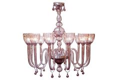 "Incredible pale amethyst Murano glass chandelier with twelve arms. Height to top of glass canopy is 64.5""H. Rewired to US standards."