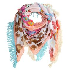 Colorful fun in the sun with this fringe multiple prints scarf.
