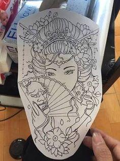 Back tattoo idea Tribal Sleeve Tattoos, Leg Tattoos, Body Art Tattoos, Tattoo Drawings, Geisha Tattoo Sleeve, Japanese Tattoo Art, Japanese Tattoo Designs, Japanese Art, Geisha Tattoo Design