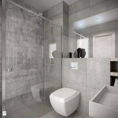 widok na WC i wnękę prysznicową Łazienka - zdjęcie od Wnętrzowe Love