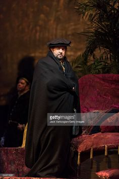 Spanish tenor Placido Domingo (as 'Don Carlo, King of Spain' disguised as a pilgrim) performs during the final dress rehearsal prior to the season premiere of the Metropolitan Opera/Pier Luigi Samaritani production of 'Ernani' (by Giuseppe Verdi, 1844) at the Metropolitan Opera House at Lincoln Center, New York, New York, March 17, 2015. It was Domingo's 146th role, and his first as the baritone role of Don Carlo.
