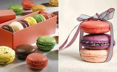 Em embalagens fofas, os macarons podem se tornar lembrancinhas incríveis para os convidados. Você pode também envolvê-los apenas com uma fita e usar para decorar a mesa de doces. Caixas de acrílico e latinhas podem ser recheadas com os docinhos.