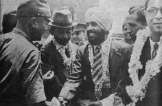 Ex-British army Captain Mohan Singh shaking hands with Major Fujiwara after the creation of the Indian National Army. Circa August 1942. Mohan Singh (1909–1989) was an Indian captain in the British army and later a member of the Indian Independence Movement. He was instrumental in organizing and leading the First Indian National Army in South East Asia during World War II.
