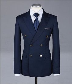Gentleman Style 775815473282833822 - Formal Tuxedos Fashion Men Suits Custome Homme New Style Slim Fit(Jacket+Pant+Tie+Handkerchiefs)Navy Bule Double Breasted Suits Source by norabelgonzalez Gentleman Mode, Gentleman Style, Mens Fashion Blazer, Suit Fashion, Sharp Dressed Man, Well Dressed Men, Mode Masculine, Formal Tuxedo, Slim Fit Jackets