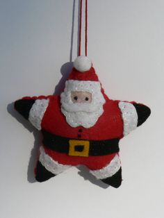 Santa Star Ornament by FeltLikeIt1 on Etsy, $12.00