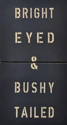 "Bright Eyed and Bushy Tailed by Sugarboo Designs is a two panel art print on wood featuring a black backround and tan lettering. A great art piece to add an interesting focal point to a room. 20""x44""."