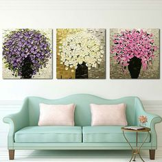 Unframed Handpainted Palette Knife Painting Colorful Flower Modern Picture Wann Art Canvas Painting For Living Room Decoration