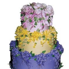 gorgeous cascading buttercream flowers I think it would look better if the base color of the cakes is white and have the flowers on point