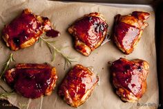 The tart yet sweet taste of pomegranate molasses is a perfect complement to baked chicken in this Pomegranate Glazed Chicken recipe.