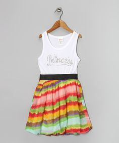 Take a look at this Coral Stripe Rhinestone 'Princess' Dress by Forever Princess on #zulily today!