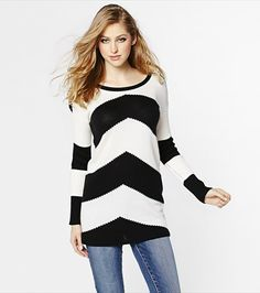 #DYNHOLIDAY Stripe a pose! This chevron stripe sweater tunic is sexy and cozy for the colder season. Pair it with jeans and knee high boots.
