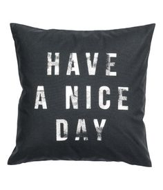 CONSCIOUS. Cushion cover in woven organic cotton fabric with printed text print at front. Concealed zip. Size 20 x 20 in.