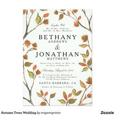 Autumn Trees Wedding Card