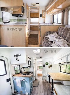 From House to Motorhome: before and after photos # . Rv Makeover Caravan Renovation Caravan Interior Makeover Home Renovation Loan Trailer Diy Travel Trailer Remodel Camper Trailers Travel Trailers Trailer Decor. Saved by. Travel Trailer Decor, Travel Trailer Remodel, Travel Trailers, Rv Travel, Camping Trailer Diy, Travel Trailer Living, Airstream Remodel, Caravan Interior Makeover, Motorhome Interior