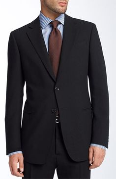 Armani Collezioni Trim Fit Black Wool Suit