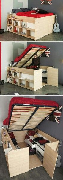 31 Small Space Ideas to Maximize Your Tiny Bedroom For those of people who live in small apartments, lofts or a compact house, keep the small bedrooms from clutter must be an everyday challenge. Fortunately, there are a lot of smart storage solutions help Small Space Storage, Storage Spaces, Storage Ideas, Storage Solutions, Smart Storage, Small Space Solutions, Storage Organization, Hidden Storage, Maximize Small Space