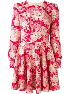 Saint Laurent Paneled Bodice Floral Dress