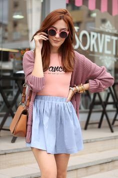 baby pink body and blue skirt.