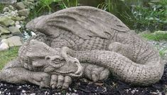 diy outdoor sculptures cement dragon | garden stone dragon statue