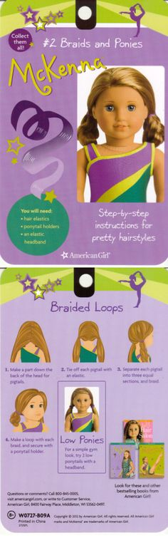 Plait bun and low ponytails: step-by-step! American Girl Crafts, American Girl Clothes, Girl Doll Clothes, Doll Clothes Patterns, American Girls, Ag Doll Hairstyles, American Girl Hairstyles, Pretty Hairstyles, Ag Dolls