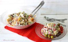 Comparte Recetas - Ensalada de pasta y anchoas con salsa de yogurt