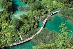 Aerial picture of a boardwalk in Plitvice Lakes National Park, Croatia