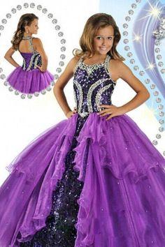 Purple Ball Gown Halter Beads Sequins Custom made Organza Floor Length Girls Pageant Dress