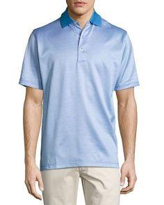 Chuck Checkered Cotton Lisle Polo Shirt, Blue